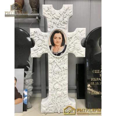 Крест из белого мрамора (комплект №15) — ritualum.ru
